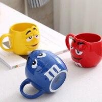 Cute M M S MM Beans Drinking Cups Ceramic Colored Cafe Oatmeal Coffee Mug Glaze Coffee