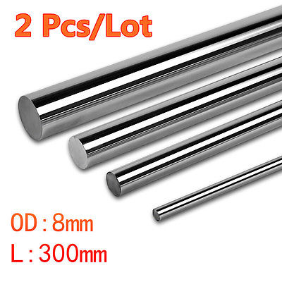 2pcs Cnc Linear Shaft Chrome OD 8mm L 300mm rail Round Steel Rod Bar Cylinder 2pcs cnc linear shaft chrome od 8mm l 300mm rail round steel rod bar cylinder