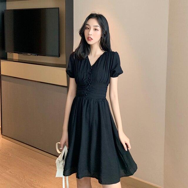 ebab1725650f0 EAD francés Vintage estilo cintura alta V cuello Vestido de manga corta  blanco negro elegante vestido fiesta las mujeres verano Chic mujer traje