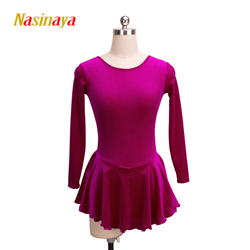 Customized Costume Ice Skating Figure Skating Dress Gymnastics Competition 24 Colors Velvet Adult Girl  Performance Round Neck first sticker book ice skating