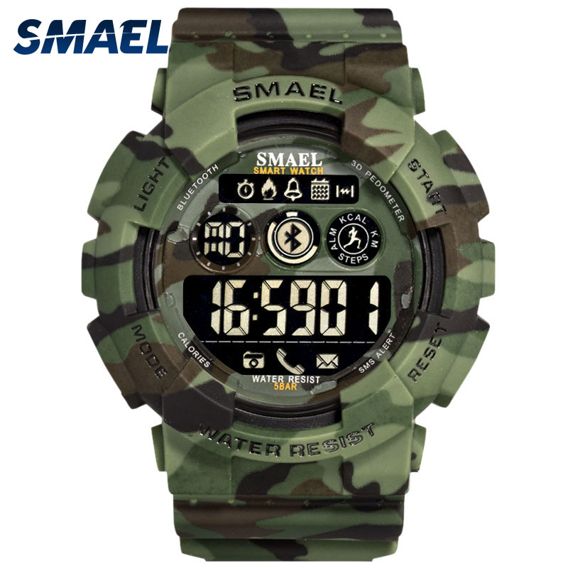 Military Digital Watches SMAEL New Bluetooth Watch digital LED Clocks Men 50M Waterproof Army Watches Sport 8013 Camo Watch Men