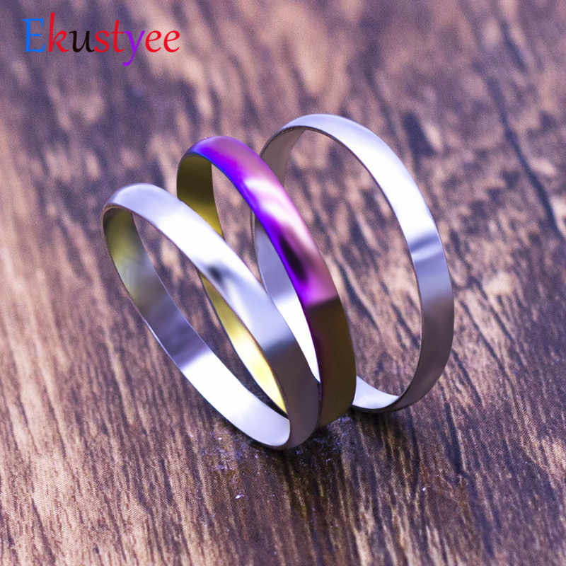 Fashion Simple 3pcs Stainless Steel Ring for Women colorful ring Jewelry