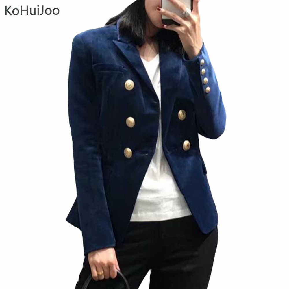 0dadff1cc9317 KoHuiJoo 2019 Wine red Black Blue Velvet Blazer Women Double Breasted Button  Casual Suit Coat Jackets