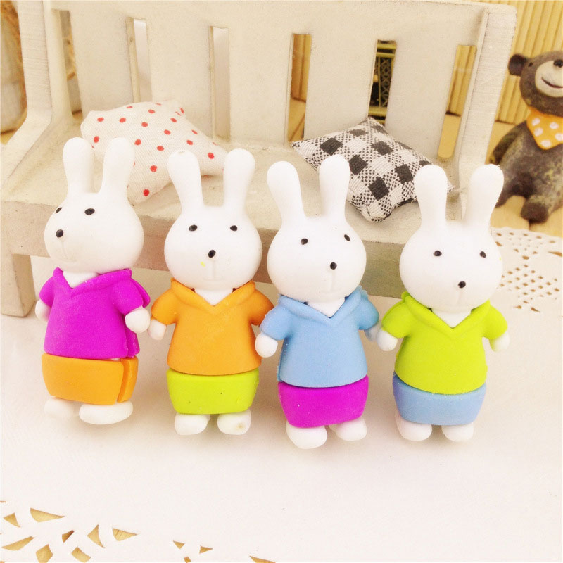 1 Pcs Kawaii Cartoon Rabbits Shaped Eraser Rubber Stationery Kid Gift Toy Cute Pupils  School Office Stationery  Supplies