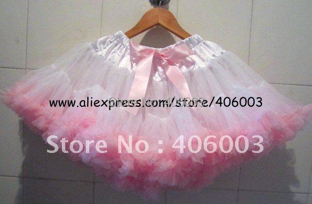 White and pink birthday kids pettiskirt 5pcs/lot
