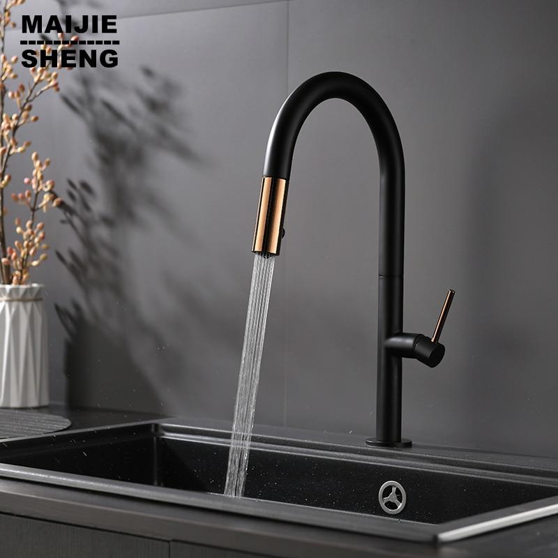Чистый черный кухонный кран 360 ronating blackend раковина кран холодный и горячий кухонный смеситель кран черненый датчик кухонный смеситель
