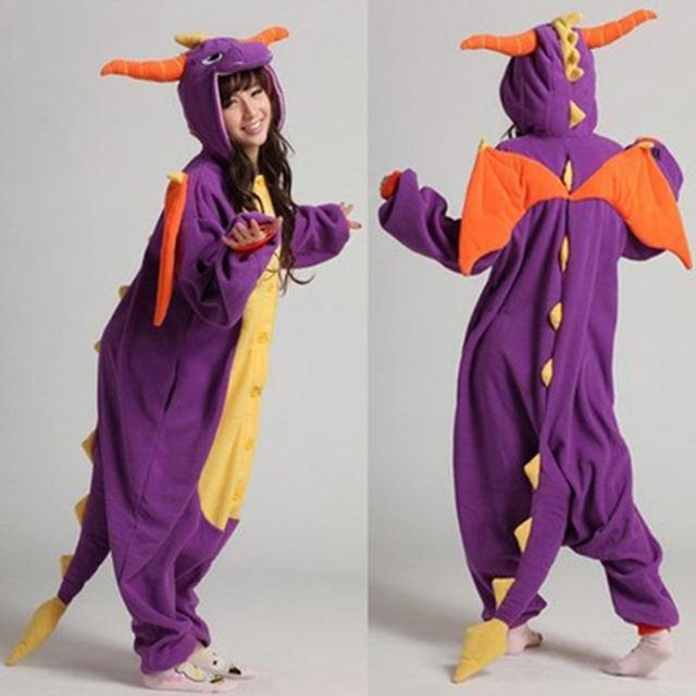 Spyro Pajamas Adult Kids Cosplay Costumes Purple Dragon Onesies For Unisex Dance Fancy Pajamas Party Children's Day Gift