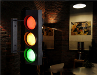 Loft Style Creative Vintage RGB Traffic LED Wall Lamps Industrial Black Wall Sconce Iron Light Fixtures for Cafe Bar Restaurant