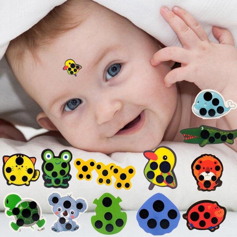 5 pçs do bebê bonito dos desenhos animados animal adesivo testa cabeça tira corpo febre termômetro crianças segurança cuidados com o bebê termômetro 30% de desconto