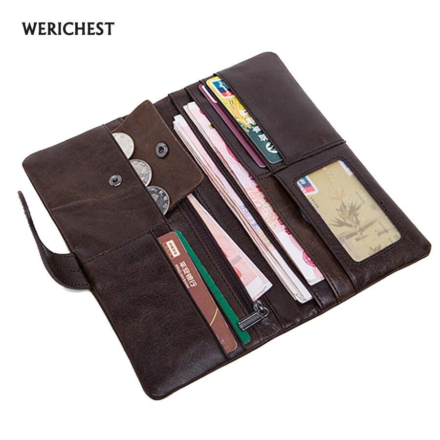 WERICHEST Luxe merk Heren Portefeuilles Lange Leren Portemonnee - Portemonnees en portefeuilles