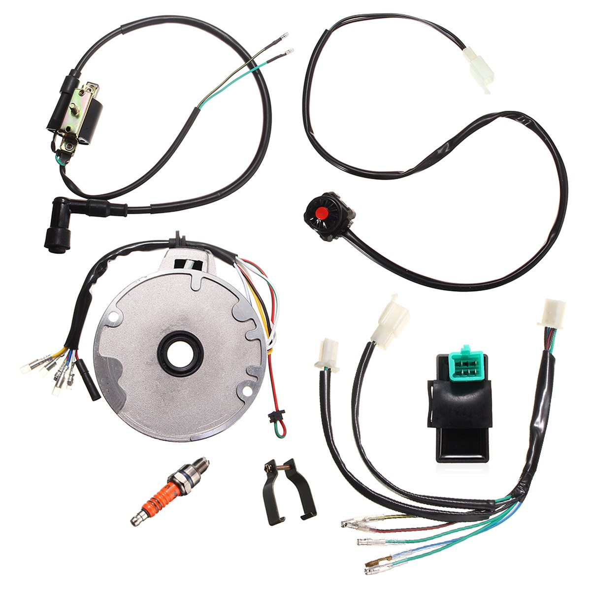hight resolution of universal motorcycle dirt pit bike cdi for spark plug switch magneto wire harness kit 50
