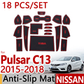 for Nissan Pulsar C13 2015-2017 Anti-Slip Rubber Cup Cushion Door Mat 18Pcs Tiida (Russia) 2016 Accessories Car Styling Sticker