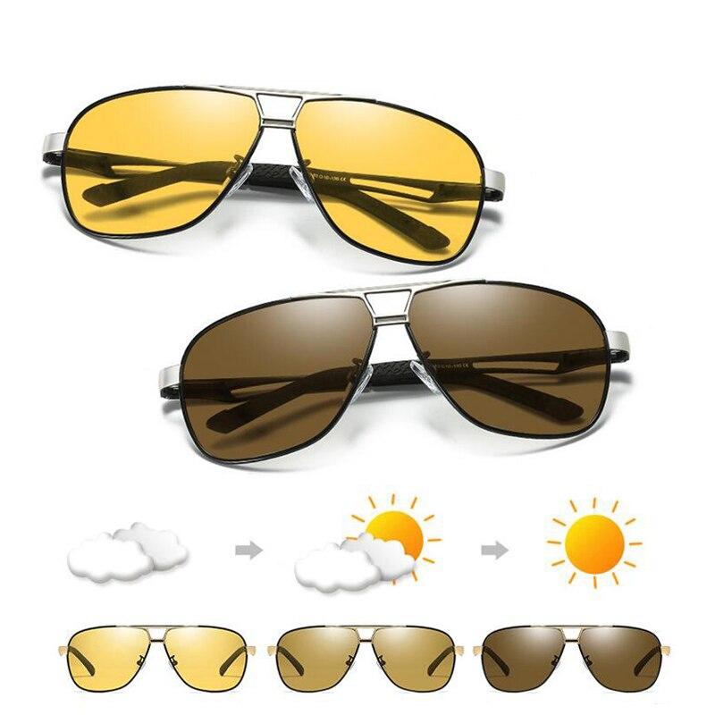 Lunettes de soleil photochromiques hommes lunettes de soleil polarisées pilote rétro Aviation lunettes de Vision nocturne pour hommes caméléon lunettes