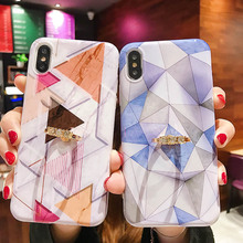 Marble Phone Case For iPhone 7 8 6 6S Plus X XR XS MAX 11 Pro Max Shell Back Cover Triangle Pattern Silicone Diamond Finger Ring
