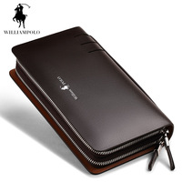 2017 NEW Genuine Leather Wallet Men Fashion Business Design High Capacity Organizer Wallet Brand Men Clutch