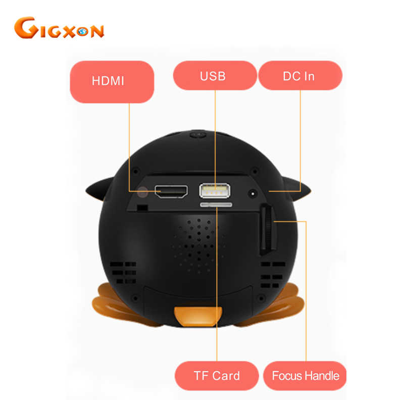 Gigxon Q1 2017 cute penguin mikro projektor DLP 40 lumenów obsługa rozdzielczości full HD 1080 P TF/USB/HDMI /AV do użytku domowego 15 W