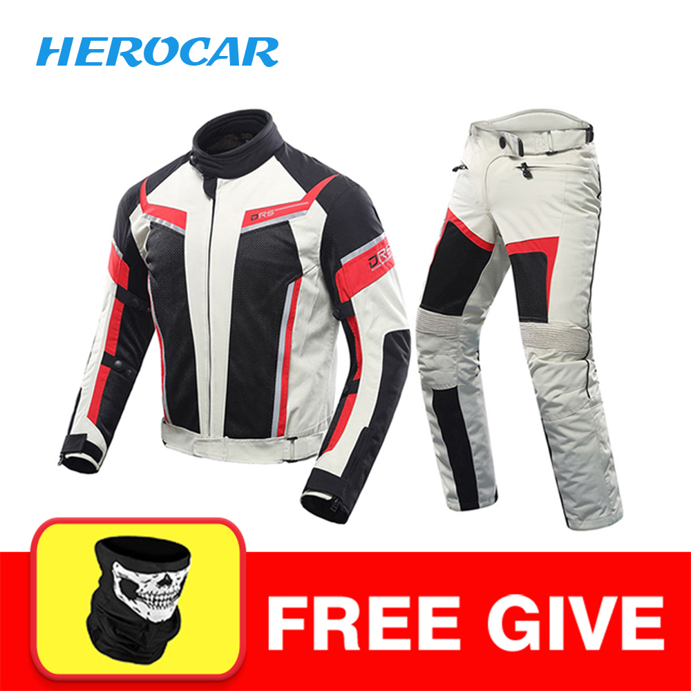 DUHAN Men Motorcycle Jacket Summer Breathable Mesh Jacket Motorcycle Pants Set Spring Moto Pants Racing Suit Motocross Suit