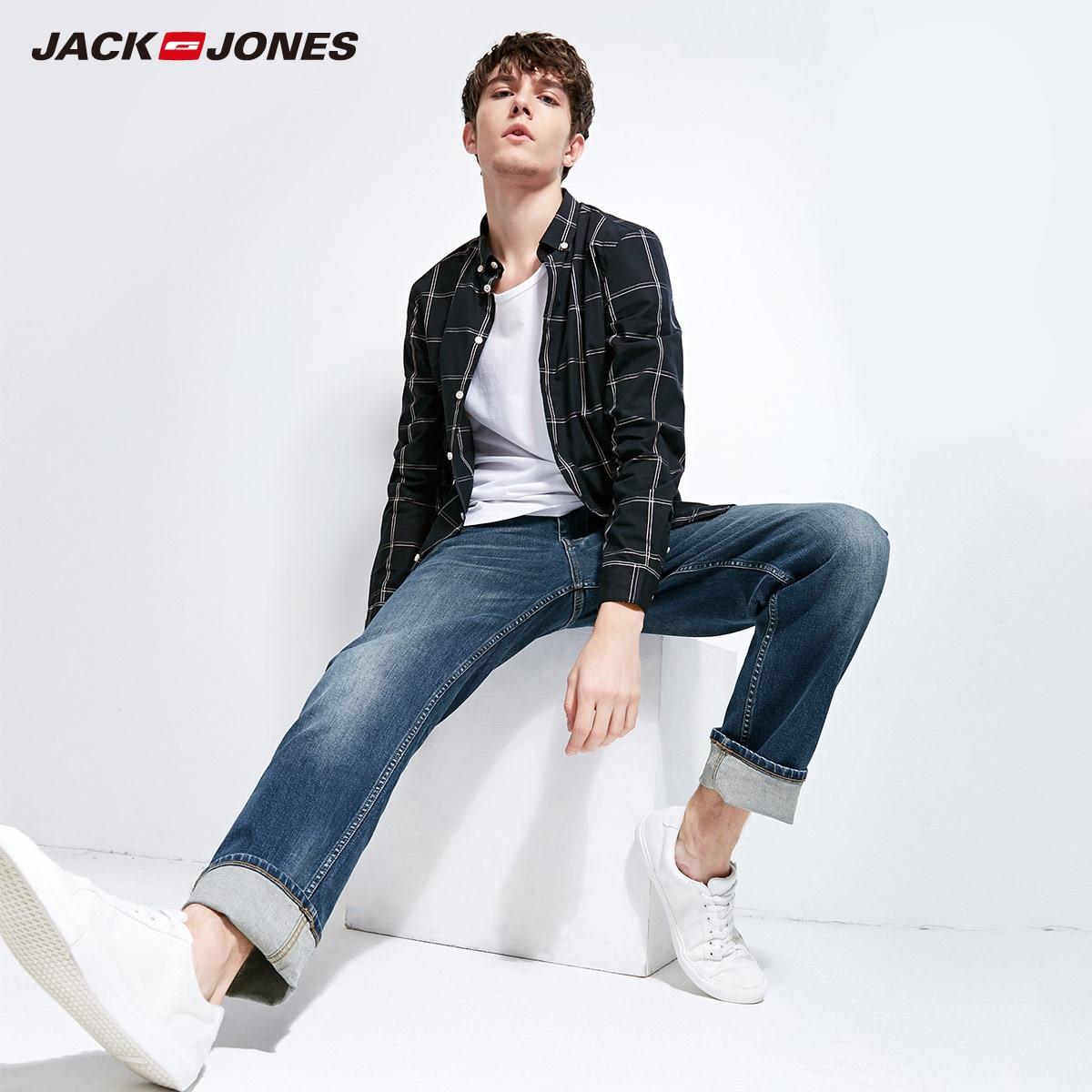 JackJones 2018 nueva marca hombres Lycra y algodón Oversize flojo vaqueros Stretch Pantalones Hombre Pantalones de 218132571 de moda