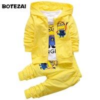 Boys Clothing Set Despicable Me Cotton Minion Clothing Sets Unisex Sport Suit 3pcs Jacket T Shirt