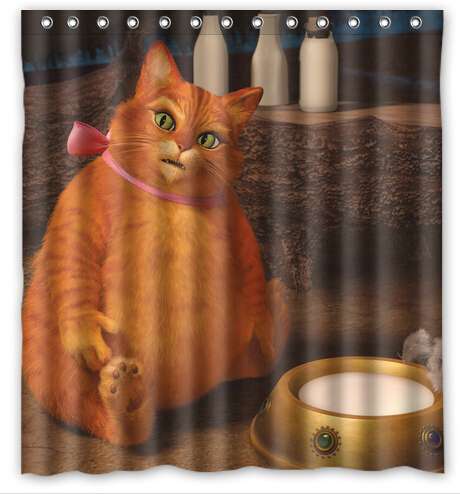 Puss In Boots Shrek Shower Curtain Waterproof Function Beautiful View Cartoon Movie