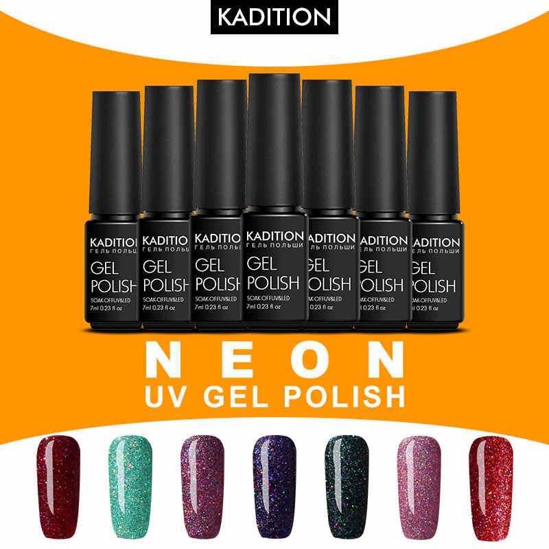 Kadition Neon Gel untuk Kuku Rainbow Set UV LED 7 Ml Gel untuk Kuku Seni Rendam Off Seri Set untuk Manikur Gel Varnish Top Coat