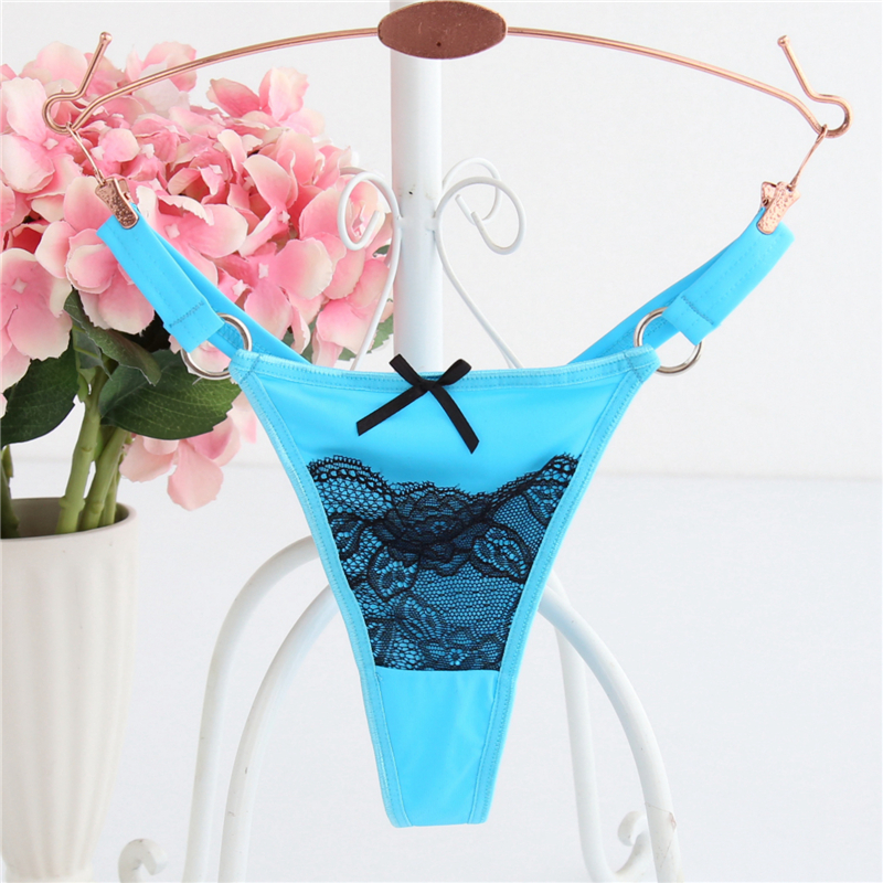 Ixuejie 6pcs/lot M L XL T Back Nylon Women Underwar Sexy Lace Panties Ring G String Briefs