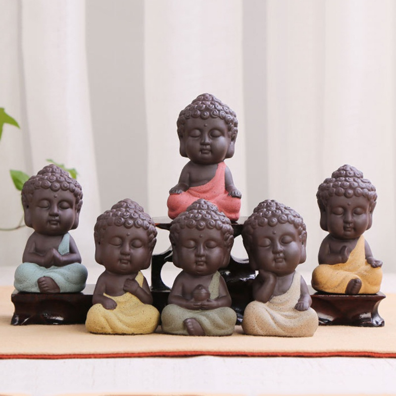 Mini Ceramic Buddha Statue Tea Dools Bonsai Garden Decor Monk Figurine Oriental Cultural Ornament Succulent Plant