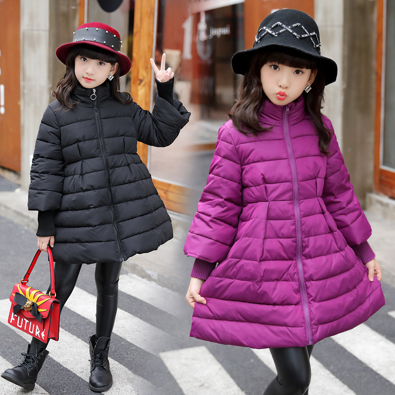 Kids Girls Children Winter A-Line Long Keep Warm Cotton-padded Down Jacket For Girls Outerwear 5 6 7 8 9 10 11 12 13 14 Years 84 2018 children down jacket girls winter long section kids clothing thick coat 30 degree warm outerwear for 7 9 10 11 13 years