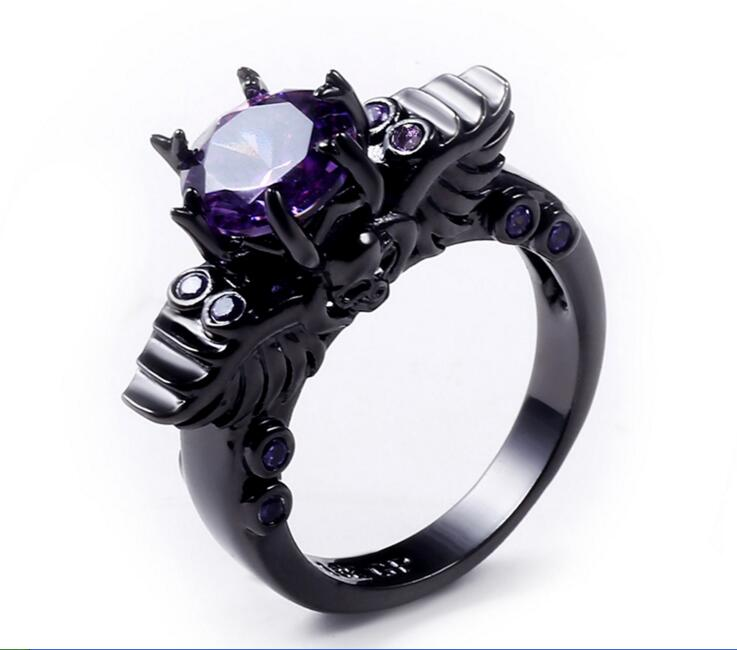 2017 fashion aaa cz copper black gold filled purple stone crystal ring sets skull shaped for - Skull Wedding Ring Sets