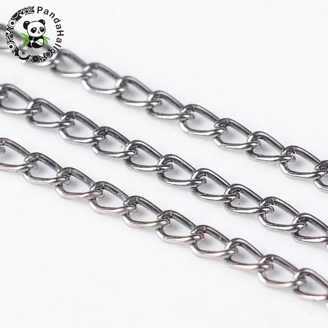 100 m/rolle 3x 1,6mm Gold Rotguss Antike Bronze Rot Kupfer Silber Farbe Twist Eisen Halskette Kette für schmuck Machen Kommen Auf Reel