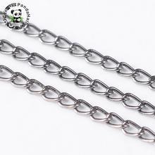 Chaîne de colliers en fer torsadé, 3x100mm, Bronze, or, rouge, cuivre, argent, bobine, 1.6 m/rouleau, pour la fabrication de bijoux
