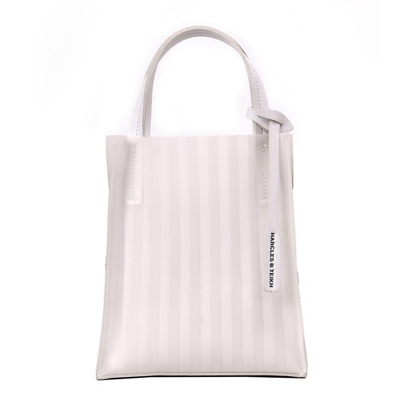 Fold Clear bag 2019 New bucket bag Fashion Transparent Women 39 s Shoulder Messenger Beach Casual Shopping Bag bolsa feminina in Top Handle Bags from Luggage amp Bags