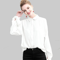 WYG Casual White Blouses 2018 Spring Fashion New Unique Design Self Bow Tie Full Sleeve Women's Oversized Long Cotton Shirts