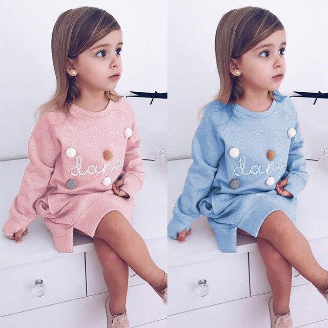 Платье для девочек для маленьких детей для новорожденных девочек с надписью пуловер Толстовка платье, одежда, костюмы с длинным рукавом осень-зима Детский костюм