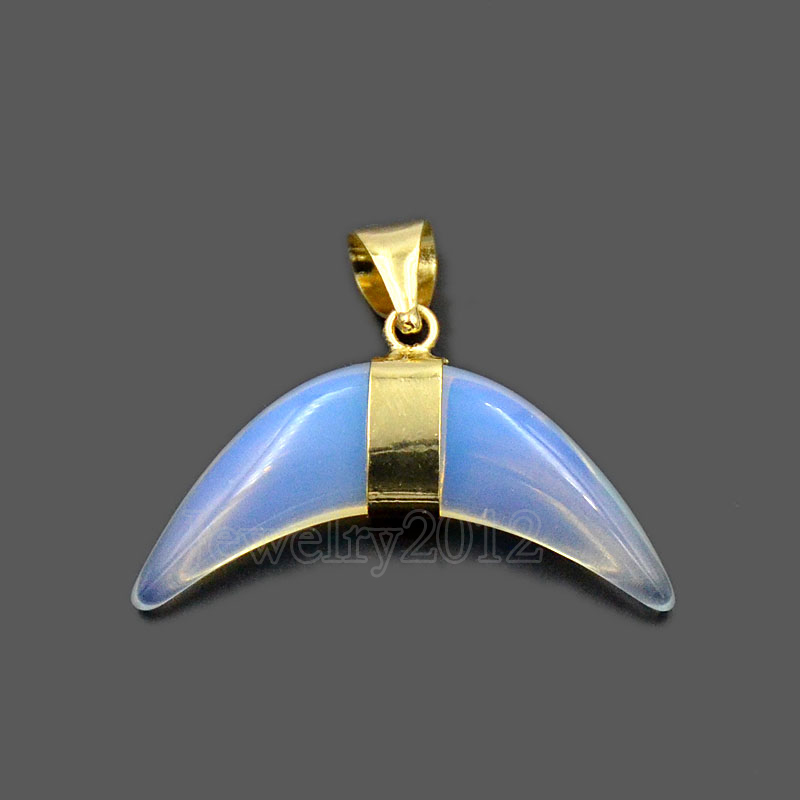 Natural Gemstones Ox Bull Horn Crescent Reiki Chakra Wrapped Gold Pendant