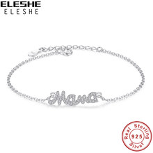 ELESHE 2019 New Fashion Jewelry Real 925 Sterling Silver Crystal Mother Mom Mama Charm Bracelets For Women Mother's Day Gift(China)