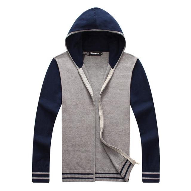 De alta qualidade 100% algodão contraste de cores com capuz homens camisola ocasional de manga comprida homem primavera casaco cardigan malhas