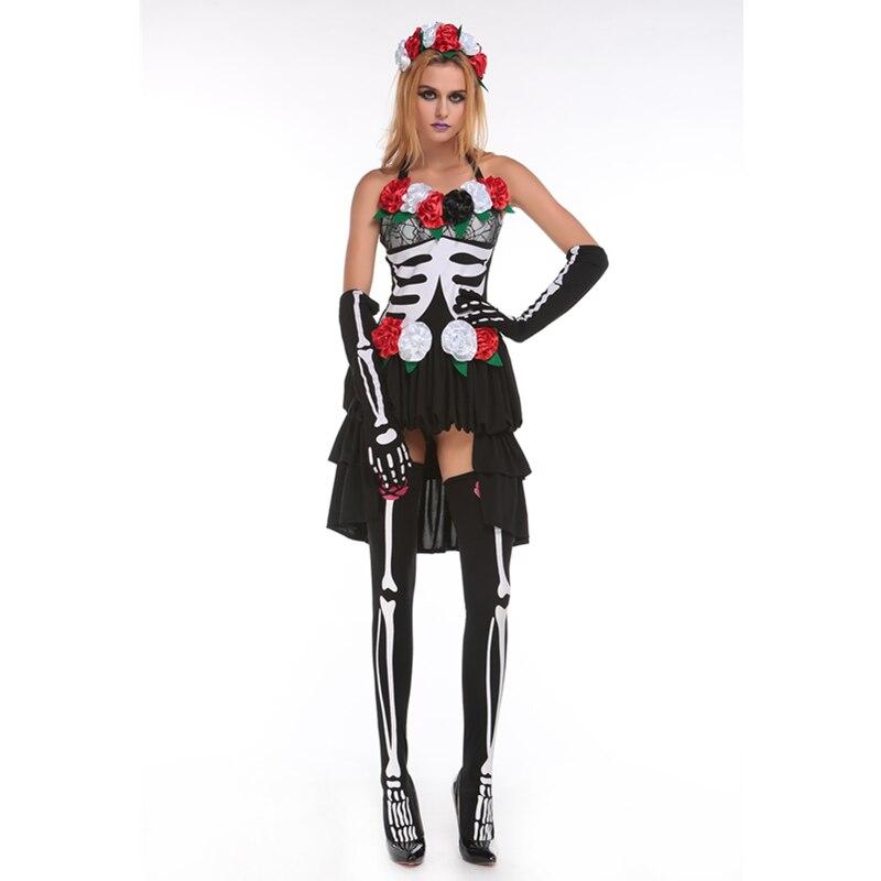 Принести P Книги по искусству Y вернуться к жизни пять частей Miss muerta Книги по искусству принты Хэллоуин костюм Страшные костюмы скелет костю...