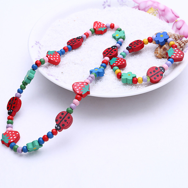 1 Sets Sweet Jewelry Wood Necklace Bracelet Charms Kids S Et026