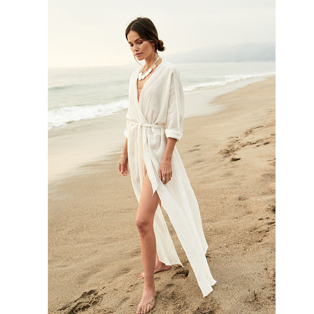 78ff840905 Maxi Dresses For Women Beach Wear Dresses Summer 2019 White Dress Long  Sleeve Boho Clothing Ladies