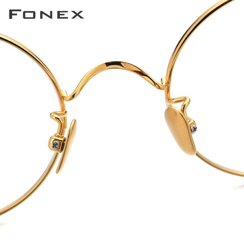 Titane pur lunettes cadre hommes Vintage rétro rond myopie optique Prescription lunettes cadres femmes thaïlande lunettes - 4