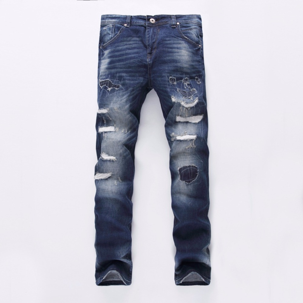 ФОТО 2017 New Pop Brand Men's Jeans fashion designer patch hole straight cotton denim trousers male luxury slim zipper ripped jeans