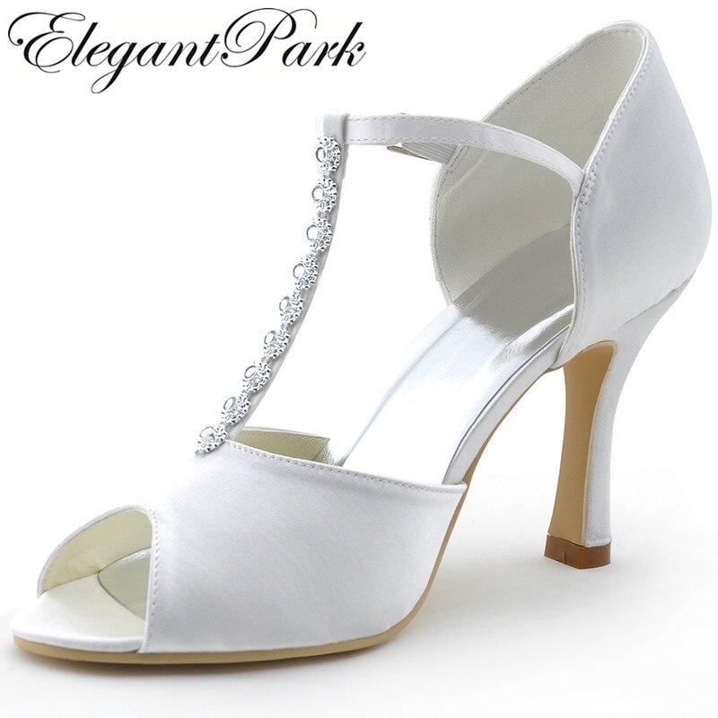 Woman shoes Wedding Shoes MR 001 White Peep Toe Rhinestone T Strap High Heel Pumps Satin