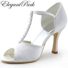 Chaussures femme mariage chaussures MR-001 blanc Peep Toe strass t-strap pompes à talons hauts Satin femme mariage chaussures de mariée