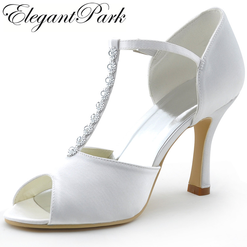 Woman Shoes Wedding Shoes MR 001 White Peep Toe Rhinestone