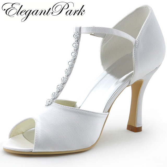 67d3d0a38ff US $49.99 |Woman shoes Wedding Shoes MR 001 White Peep Toe Rhinestone T  Strap High Heel Pumps Satin Woman wedding bridal shoes -in Women's Pumps  from ...