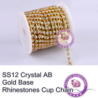 F661107 Crystal Chain Rhinestone Cup Chain CPAM FREE SS12 Crystal AB Stone Golden Base MOQ 10yard