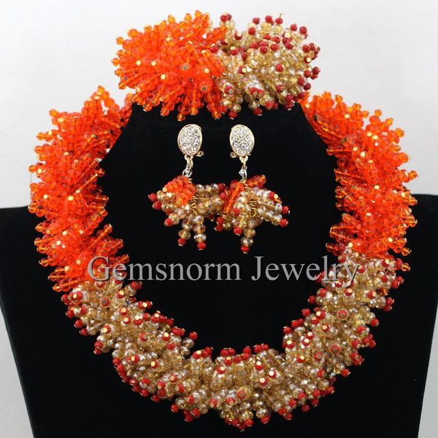 Gothic Orange Gold Chunky Statement Necklace Set African Nigerian Wedding Beads Crystal Jewelry Set Free Shipping WB680