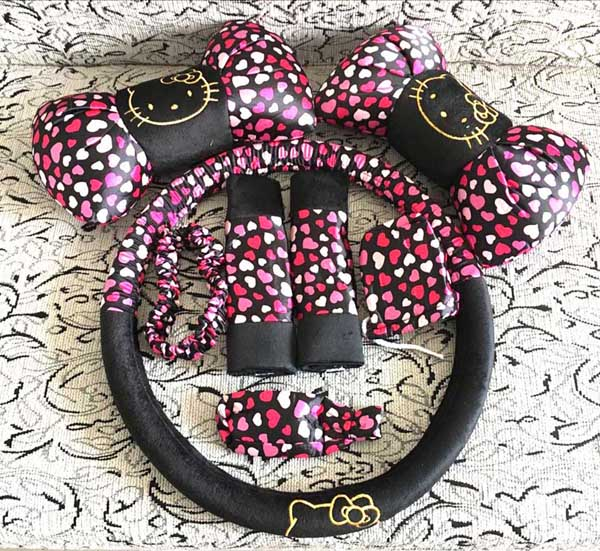8pcs Leopard Cartoon Universal Hello Kitty Car Seat Covers Car Interior Accessories Steering