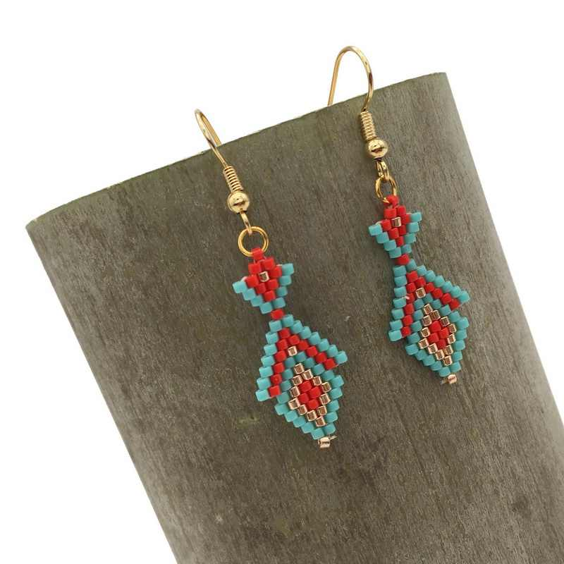 Bohemia statement drop earrings for women girls fashion jewelry Trendy MIYUKI seed beads earrings handmade jewelry for party